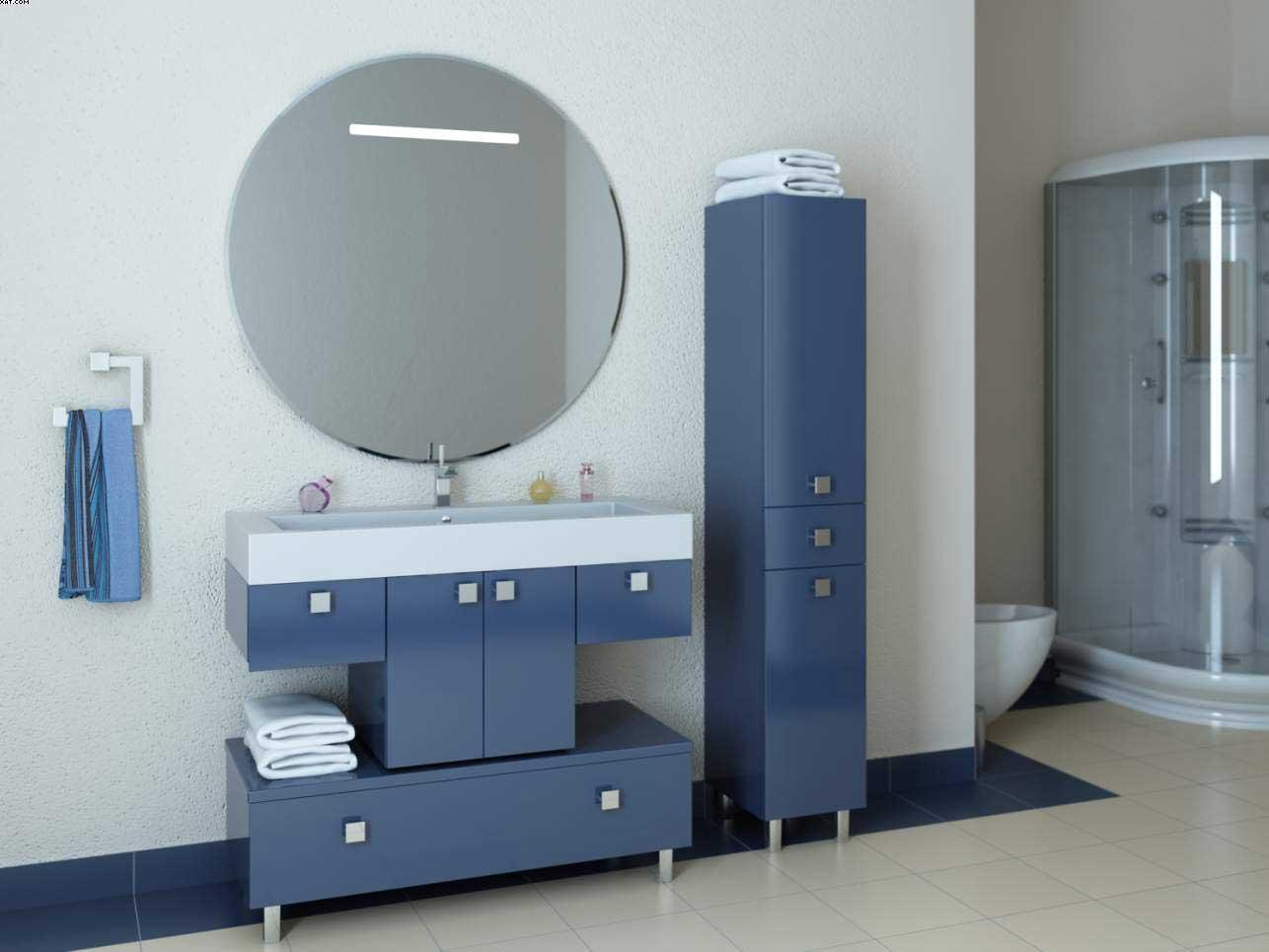 Голубой пенал для ванной