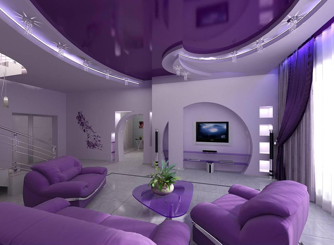 Цветной натяжной потолок в гостиной