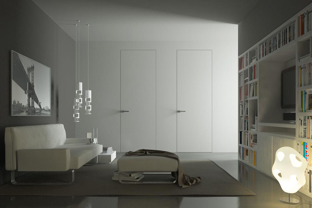 Дверь скрытого монтажа в гостиной
