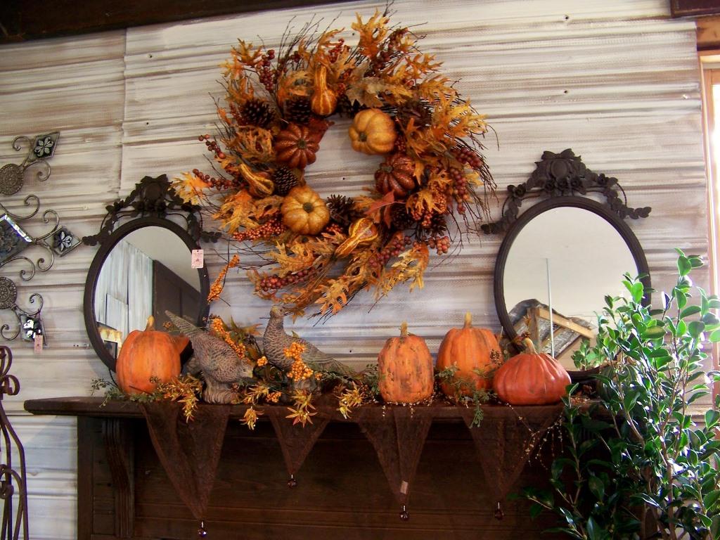Декор из сухих листьев на Хеллоуин