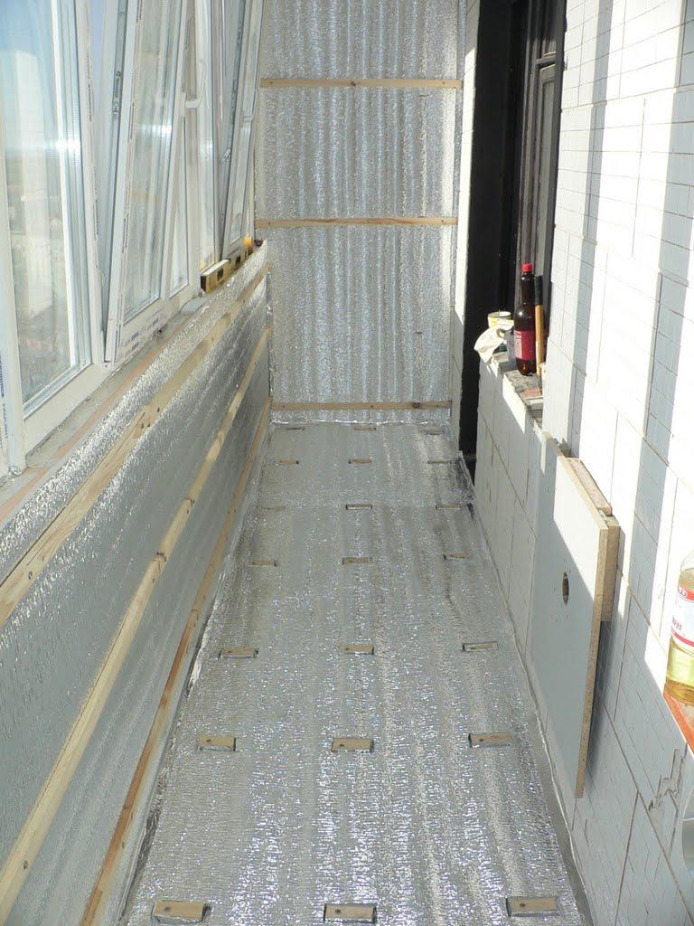 Утепление балкона изолоном