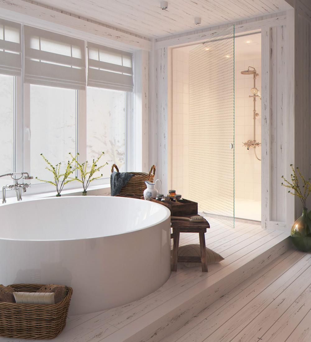Круглая ванна в стиле кантри