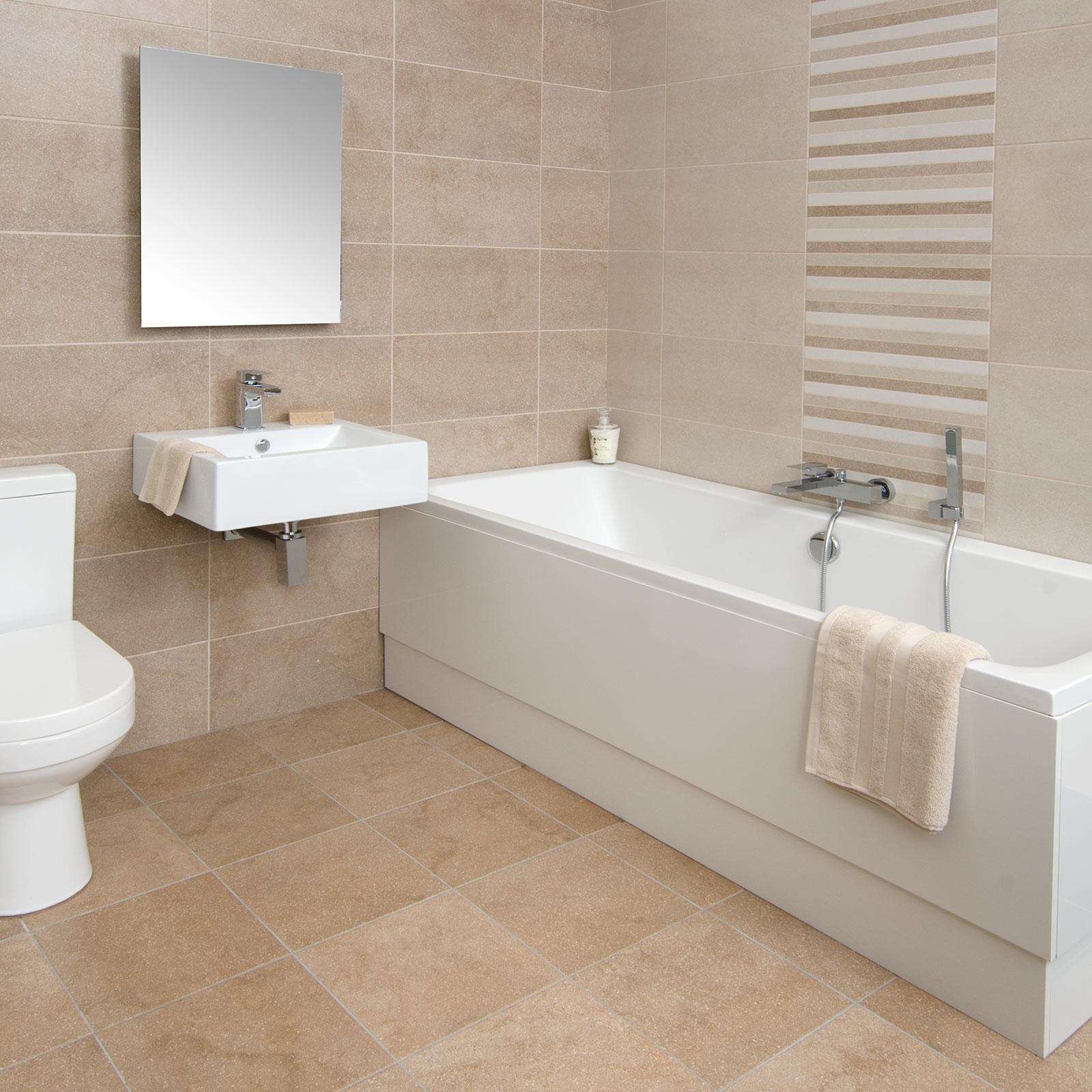 Бежевая керамическая плитка в ванной