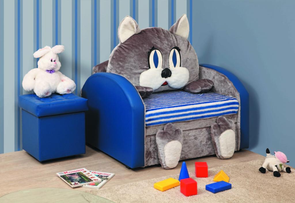 Детское кресло-кровать с кожаными подлокотниками