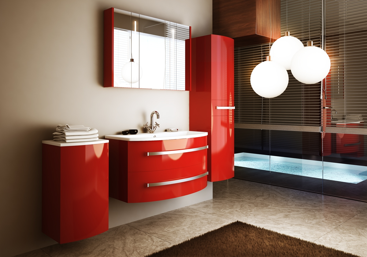 Красный пенал для ванной