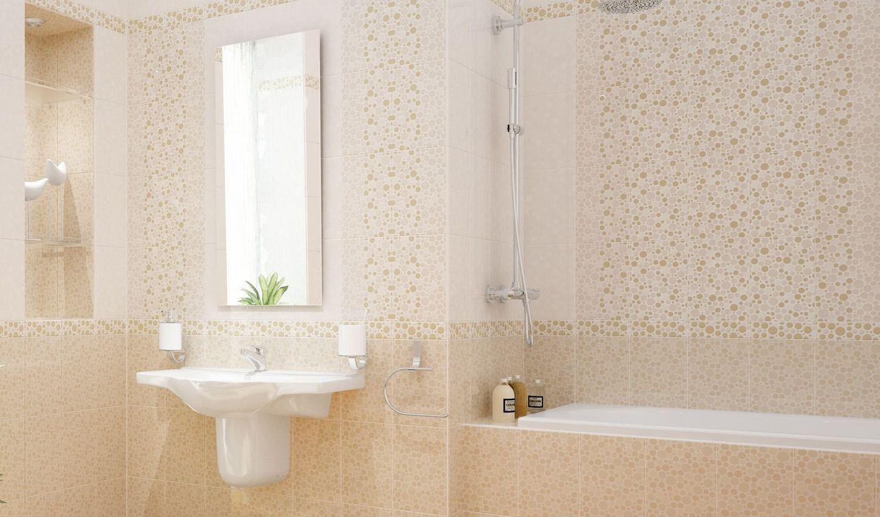 Бежевая плитка с кругами в ванной