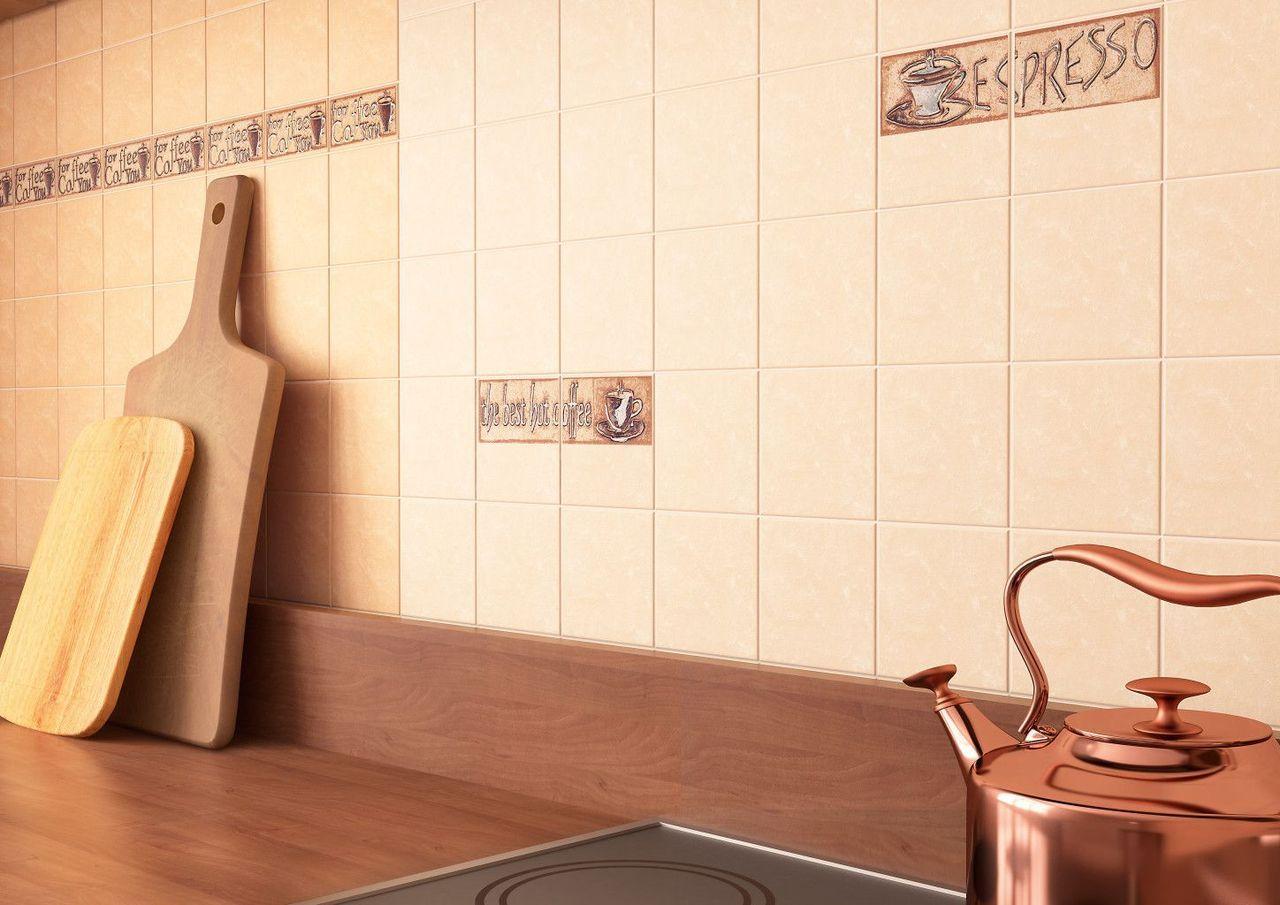 Бежевая плитка на кухонном фартуке