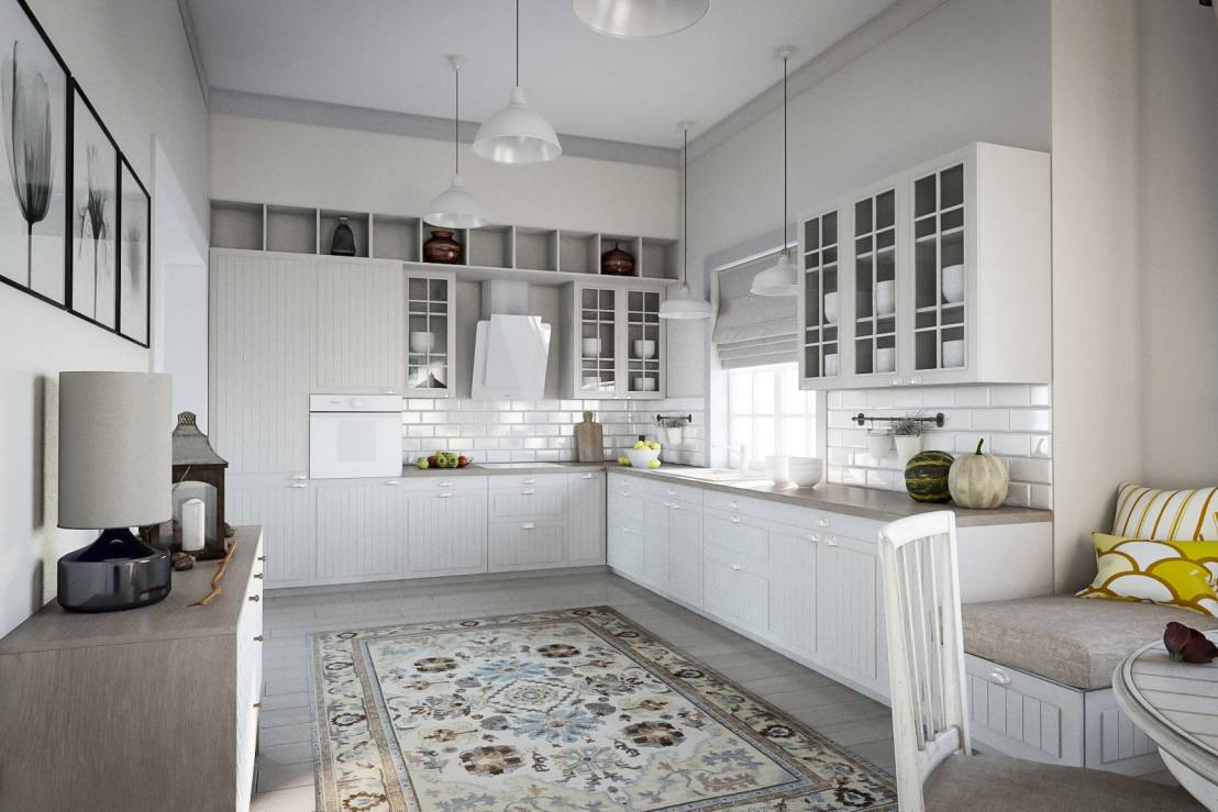 Белый ковер на кухне