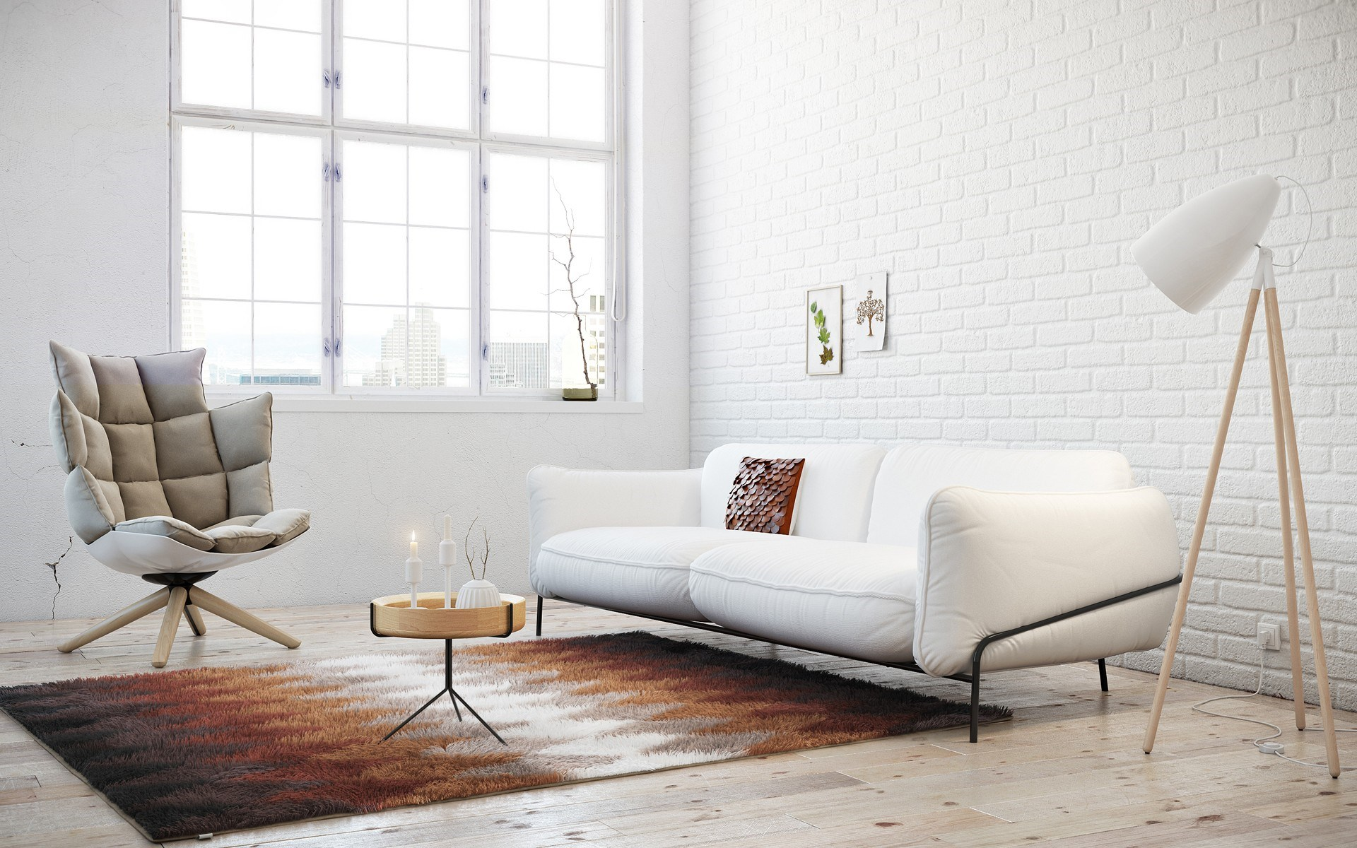 Белый диван в стиле лофт