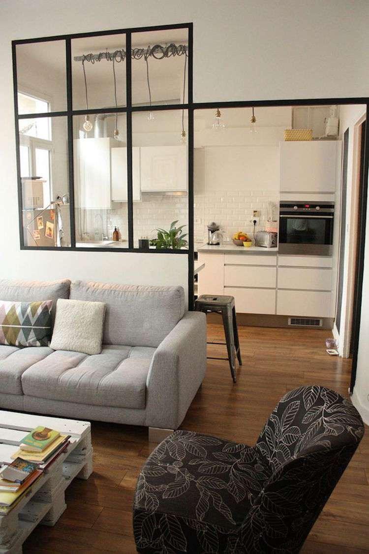 Перегородка между кухней и гостиной лофт