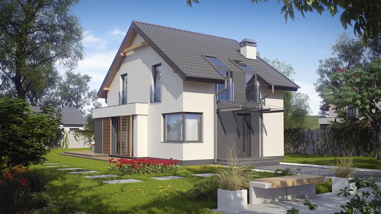 Проект дома из пеноблоков с мансардой