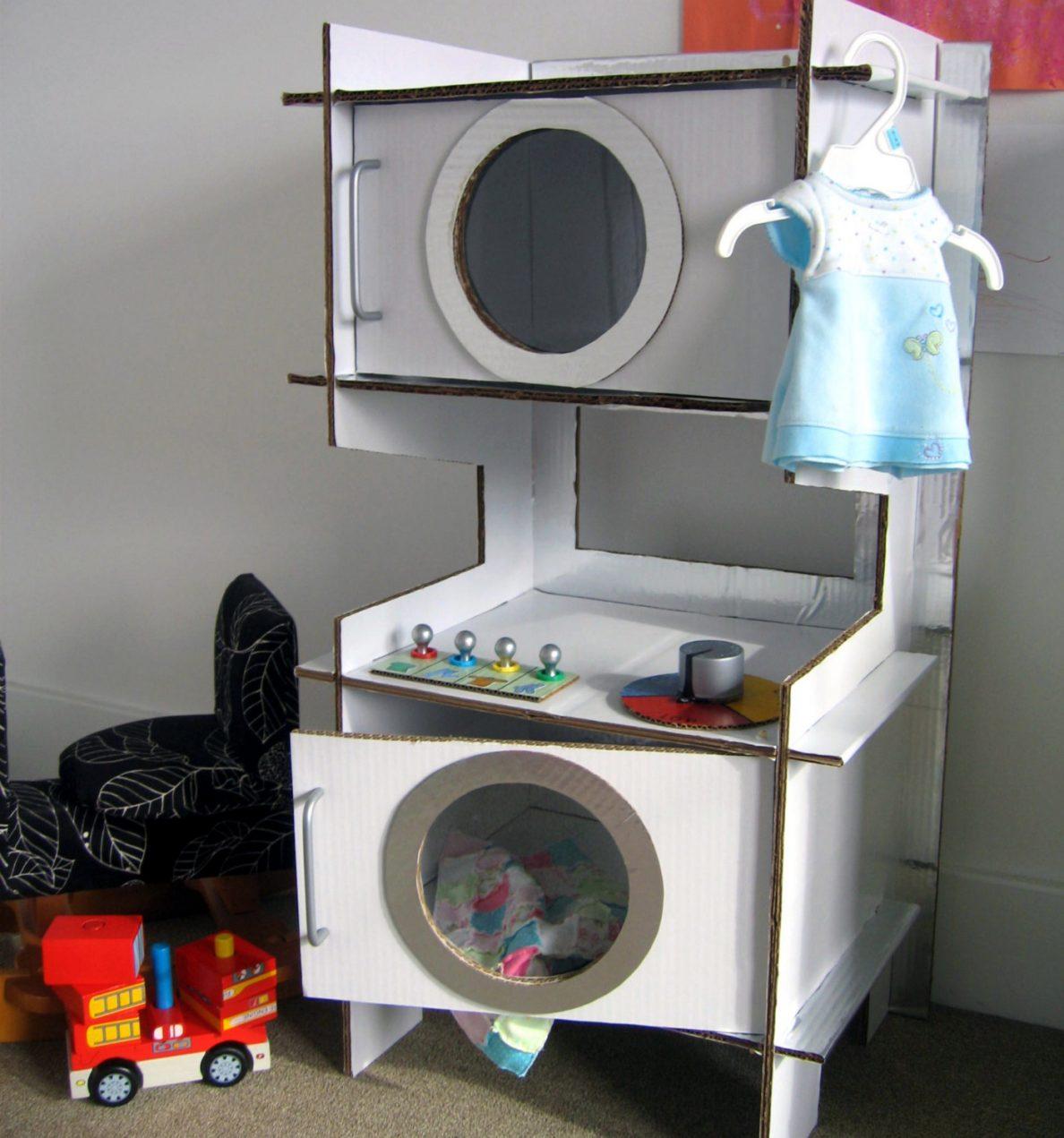 Стиральная машинка из картона для кукольного домика