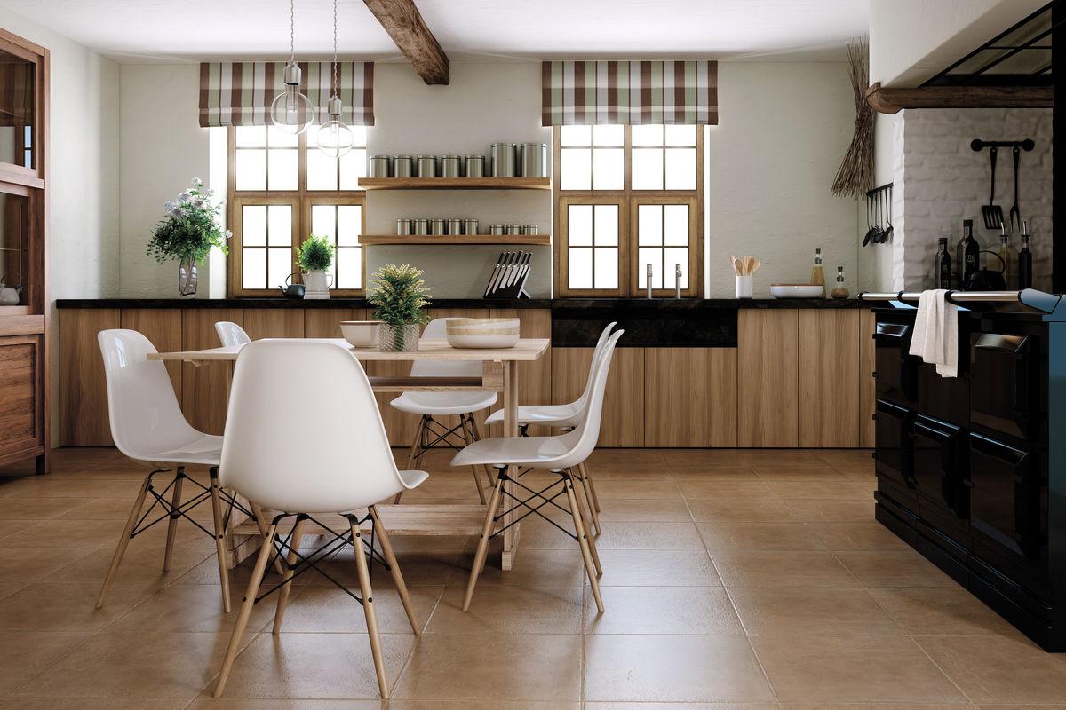 Матовая керамогранитная плитка на кухне