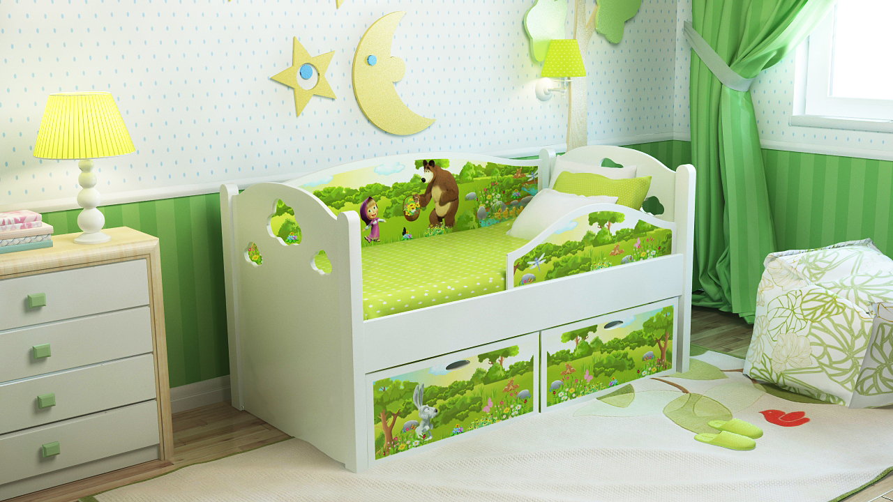 """Детская кровать """"Маша и Медведь"""" с бортиками"""