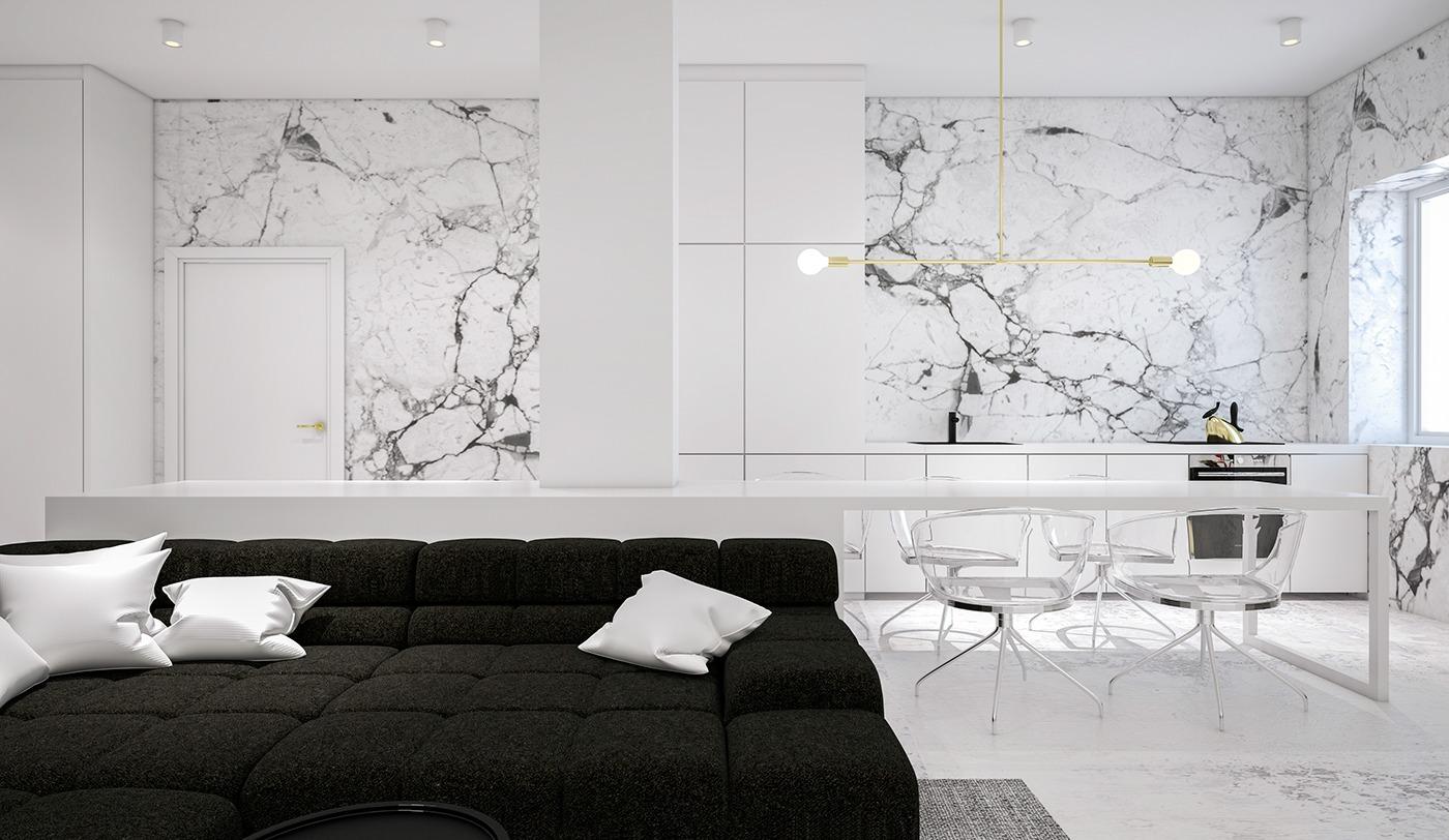 Стены из мрамора в гостиной в стиле минимализм