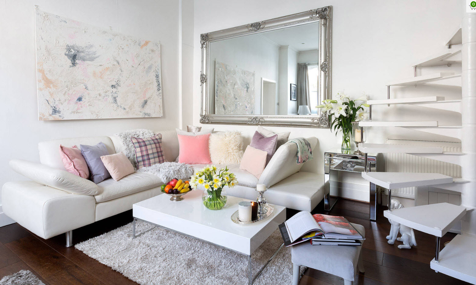 Белый диван в стиле модерн
