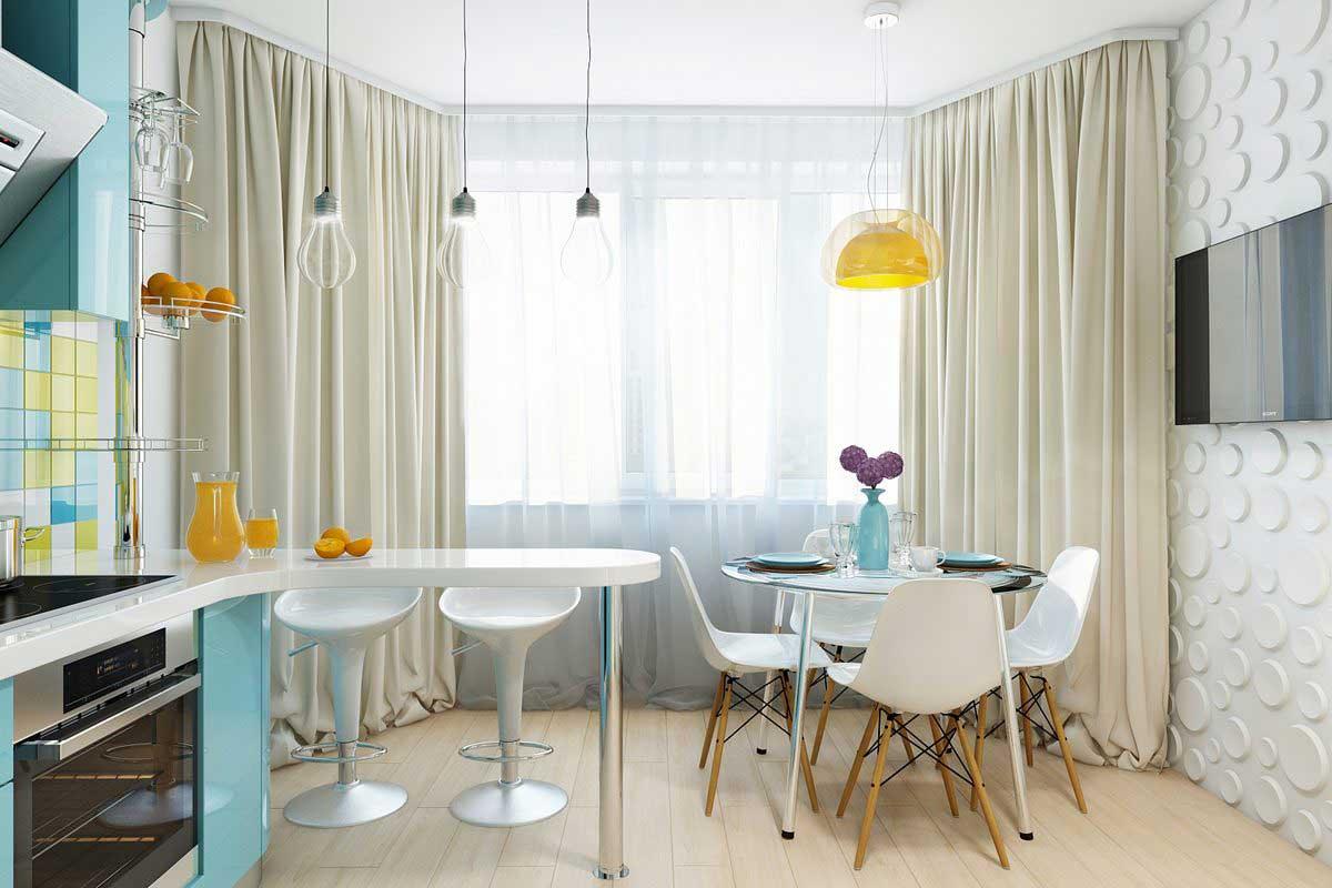 Кухня с эркером в стиле модерн