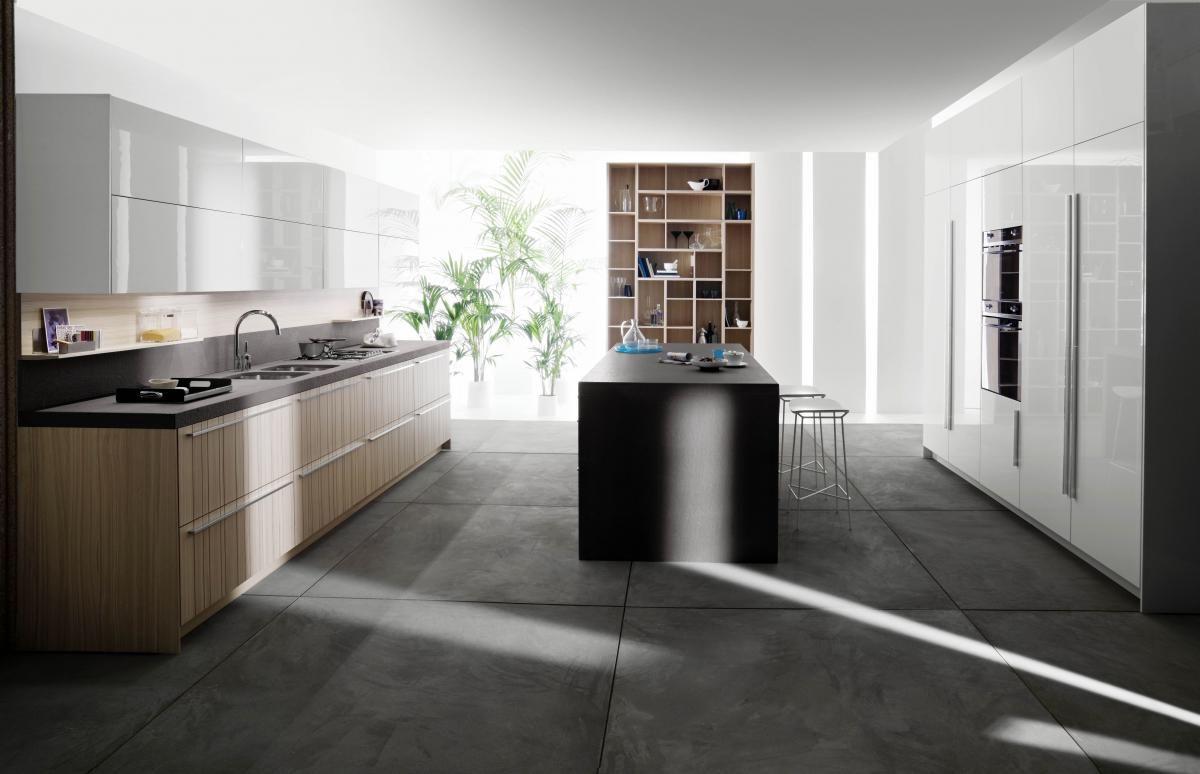 Керамогранитная плитка на кухне в стиле модерн