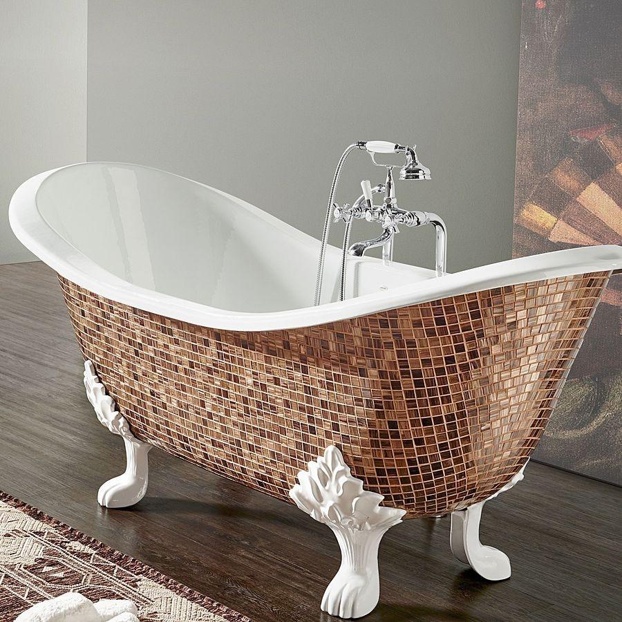 Чугунная ванна с мозаикой