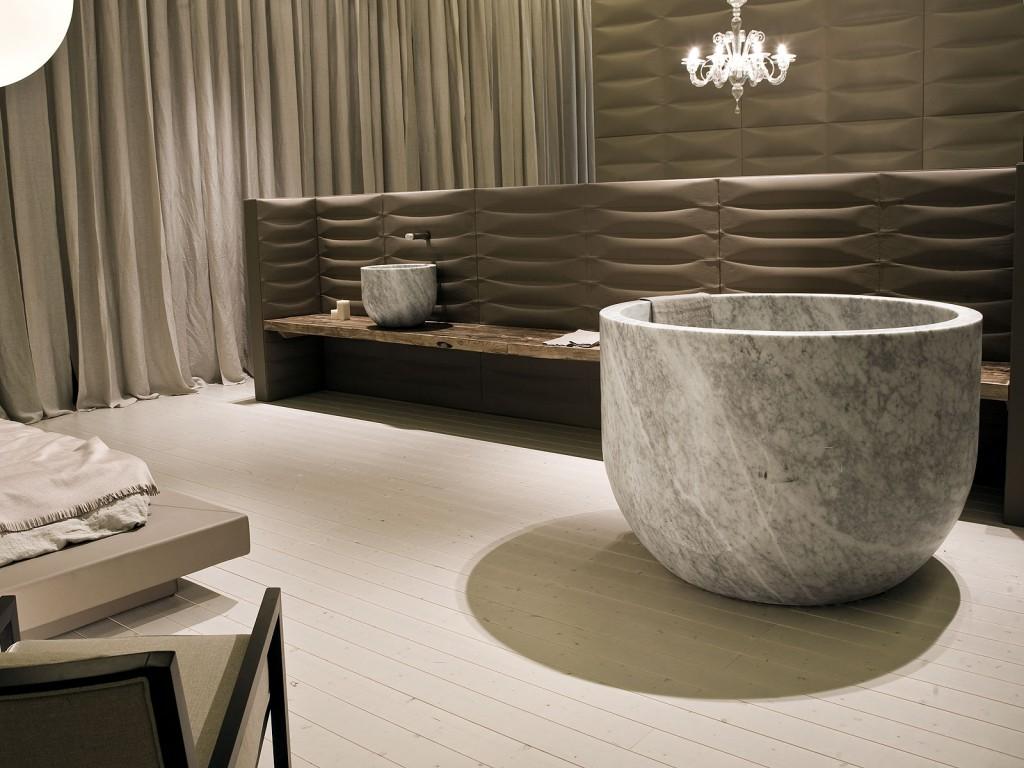 Круглая ванна из литьевого мрамора