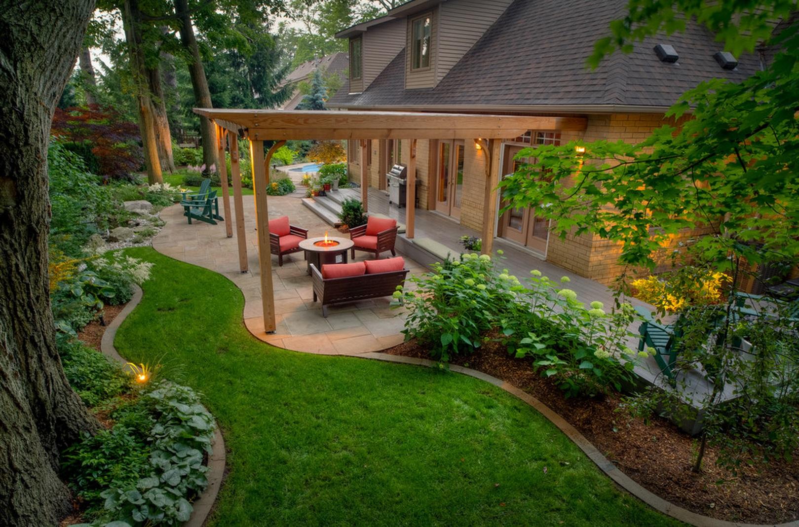 Дизайн двора дома с патио