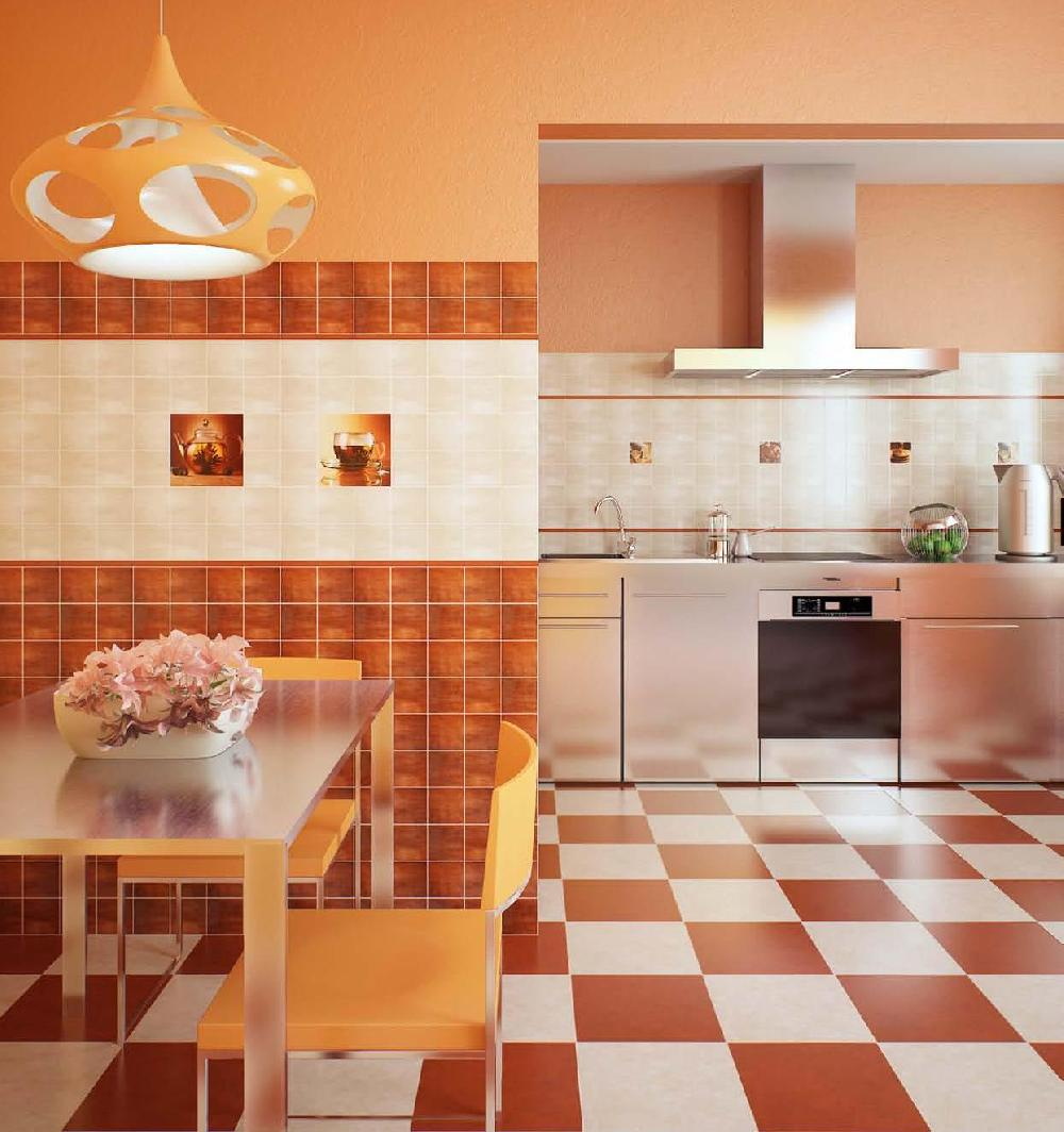 Напольная оранжевая плитка на кухне