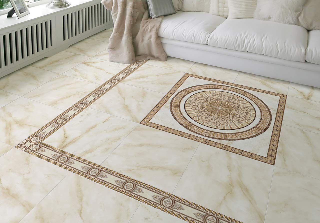 Плитка с бежевым рисунком на полу