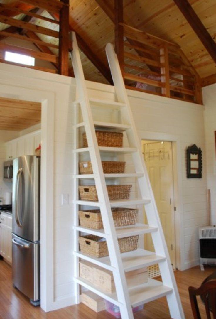 Чердачная лестница с полками