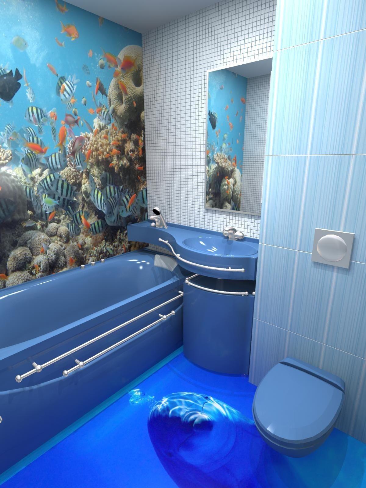 Синяя плитка в полоску в ванной