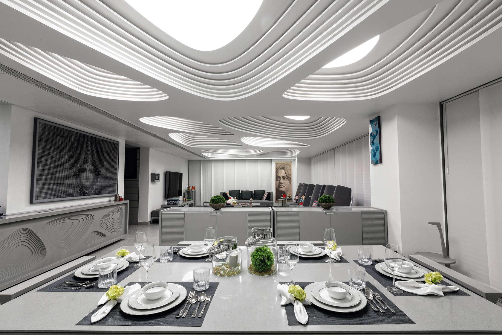 Многослойный потолок в интерьере конструктивизма
