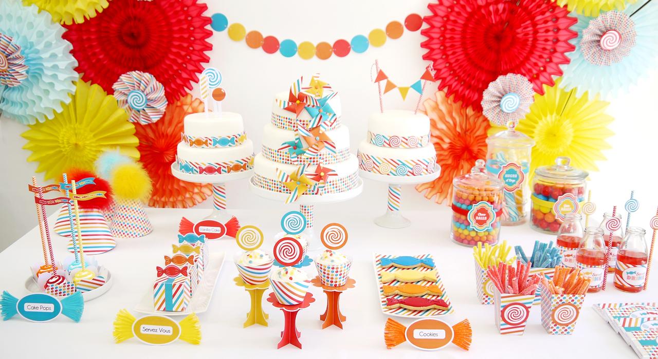 Украшение детского праздничного стола разноцветного