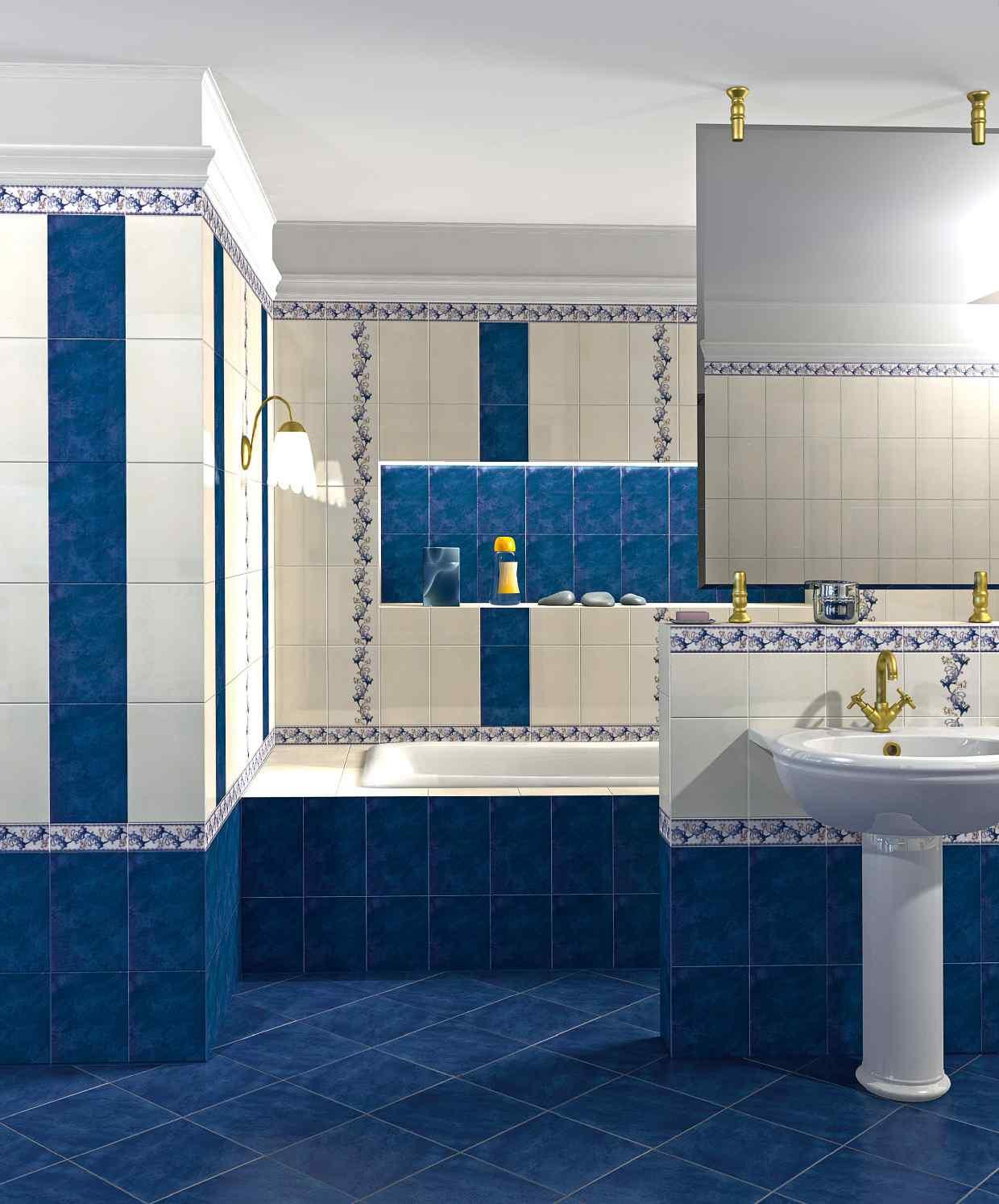 Синяя плитка в стиле ретро