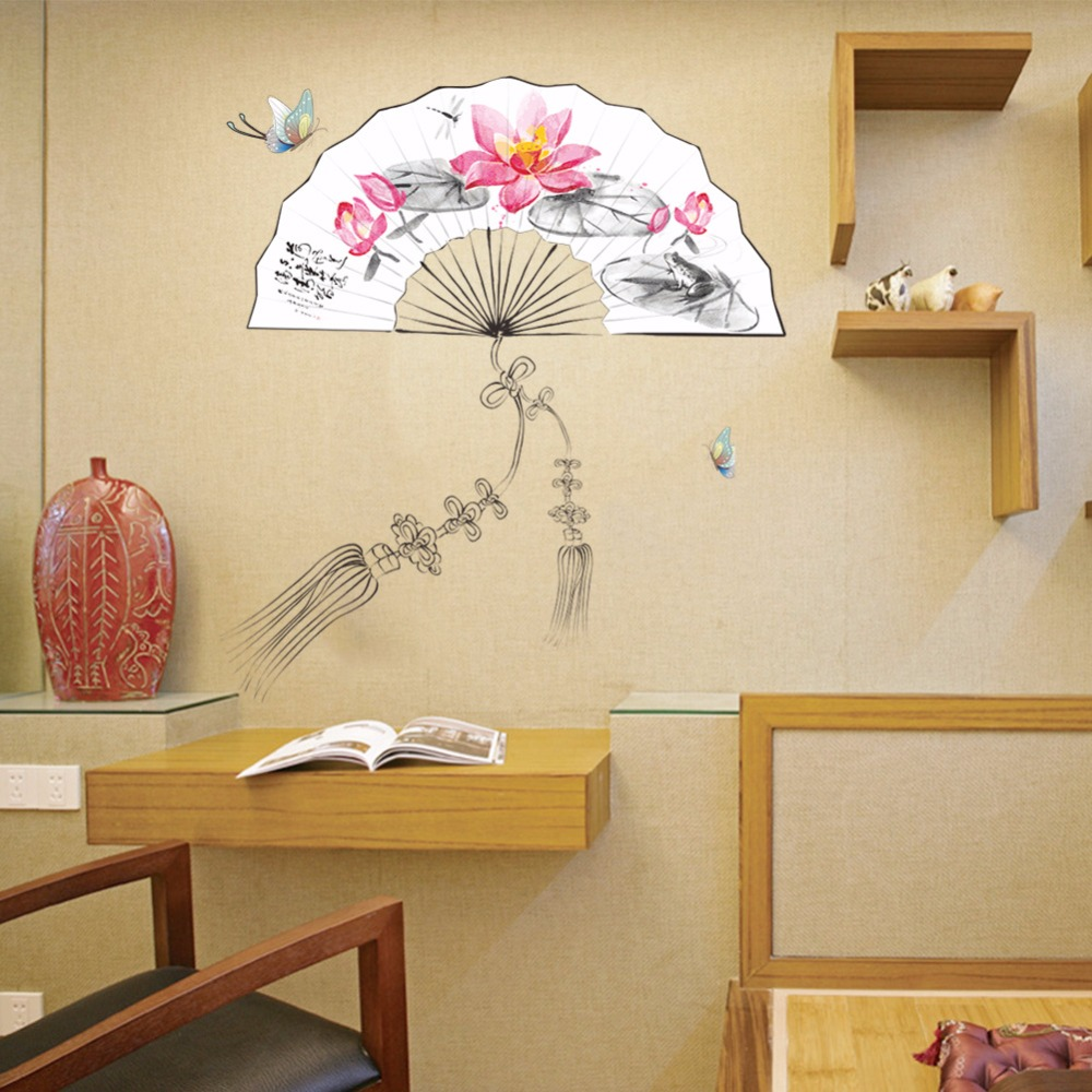 Рисунок веера на стене
