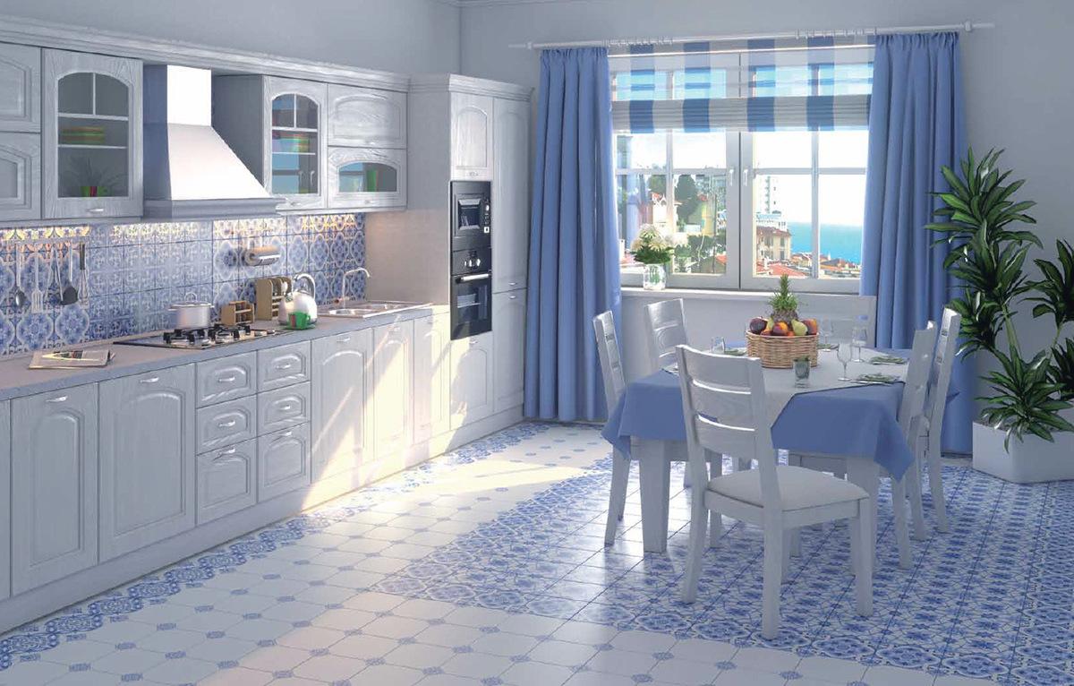 Синяя плитка с рисунком на кухне