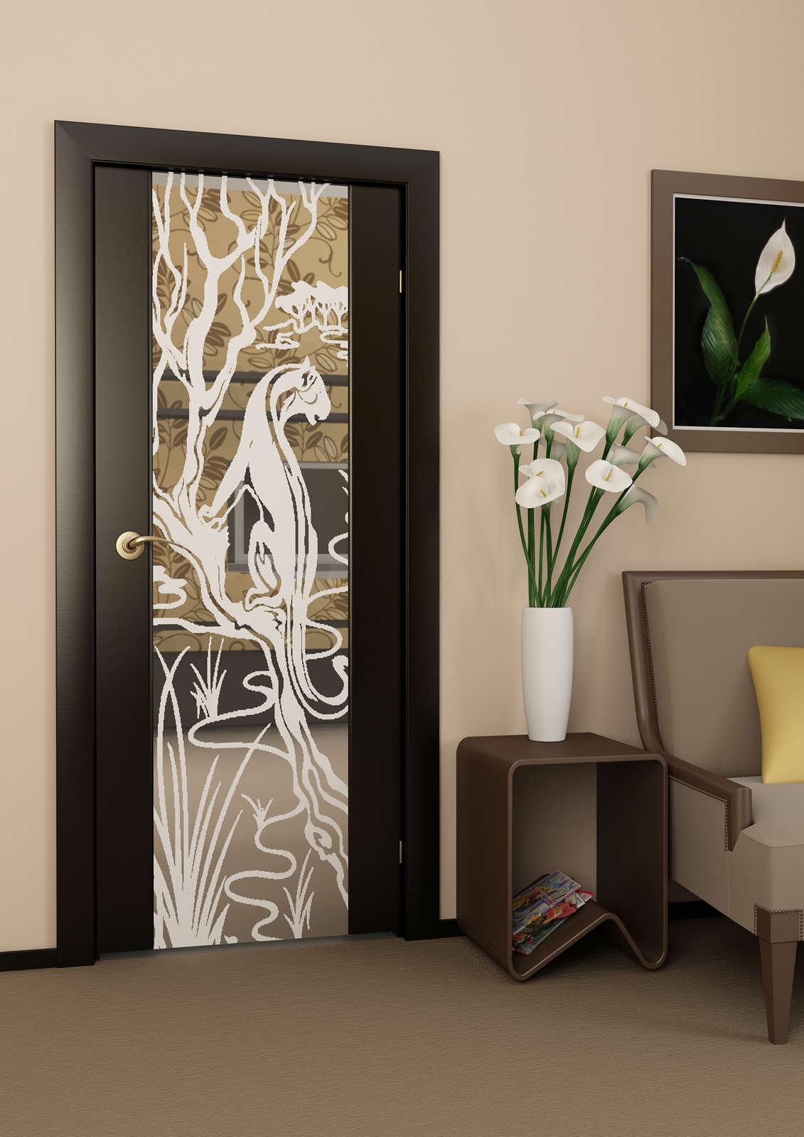 Дверь в стиле модерн с рисунком