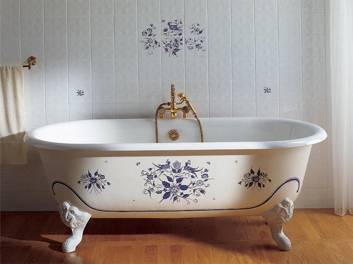 Чугунная расписная ванна