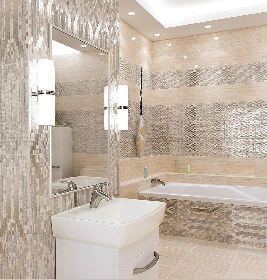 Серебряно-бежевая плитка в ванной