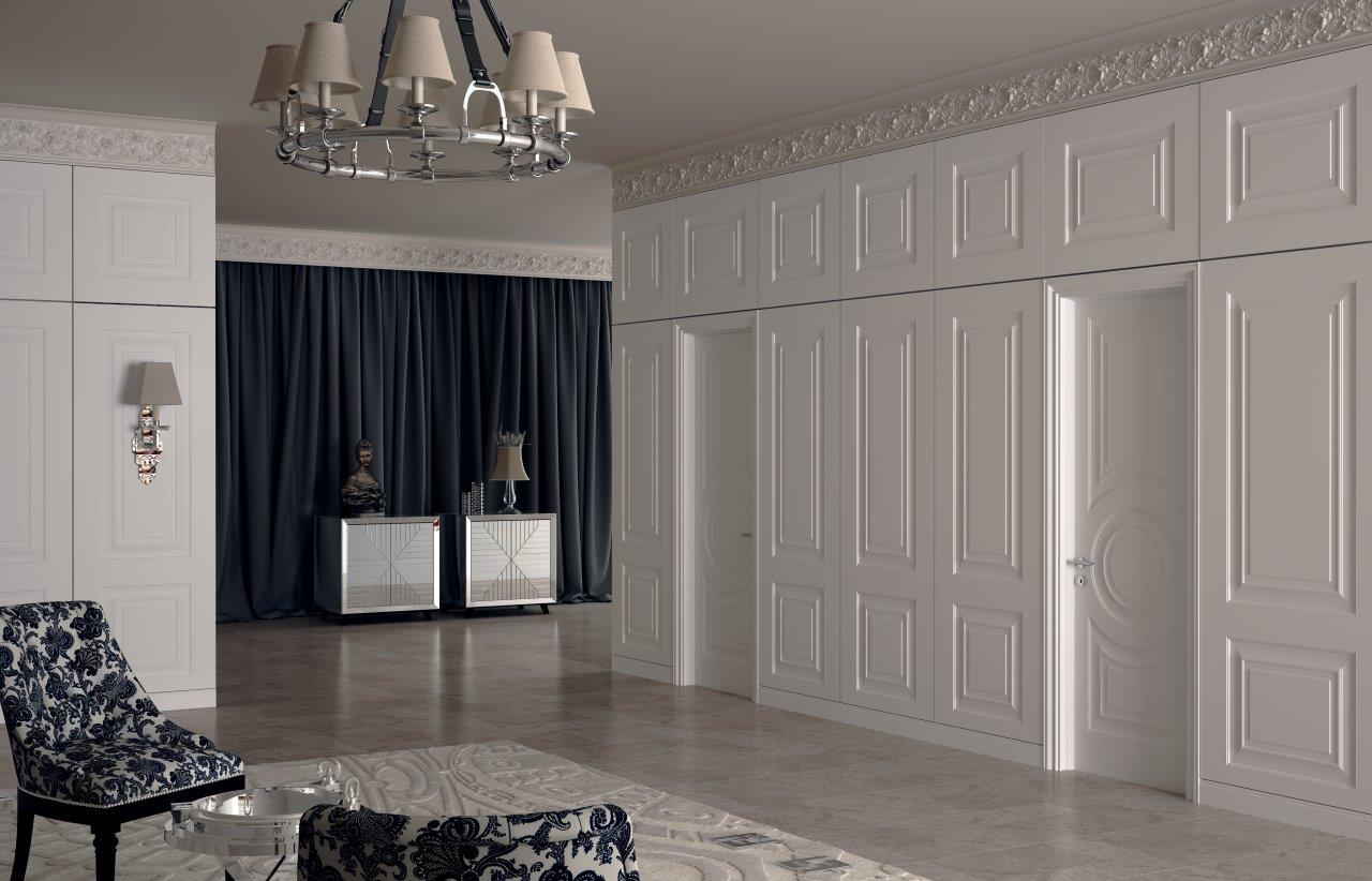 Стеновые шпонированные панели в коридоре