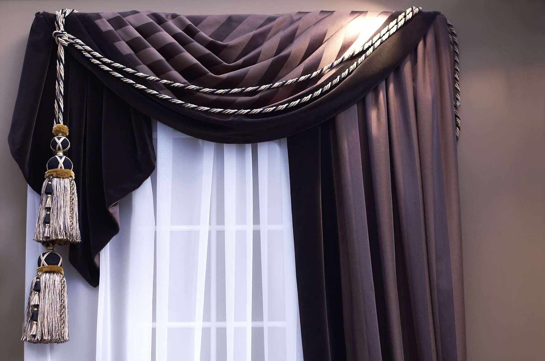 Декор шторы шнуром