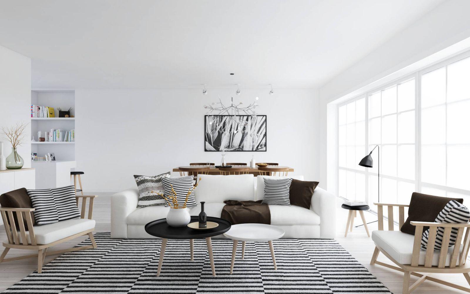 Белый диван в скандинавском интерьере