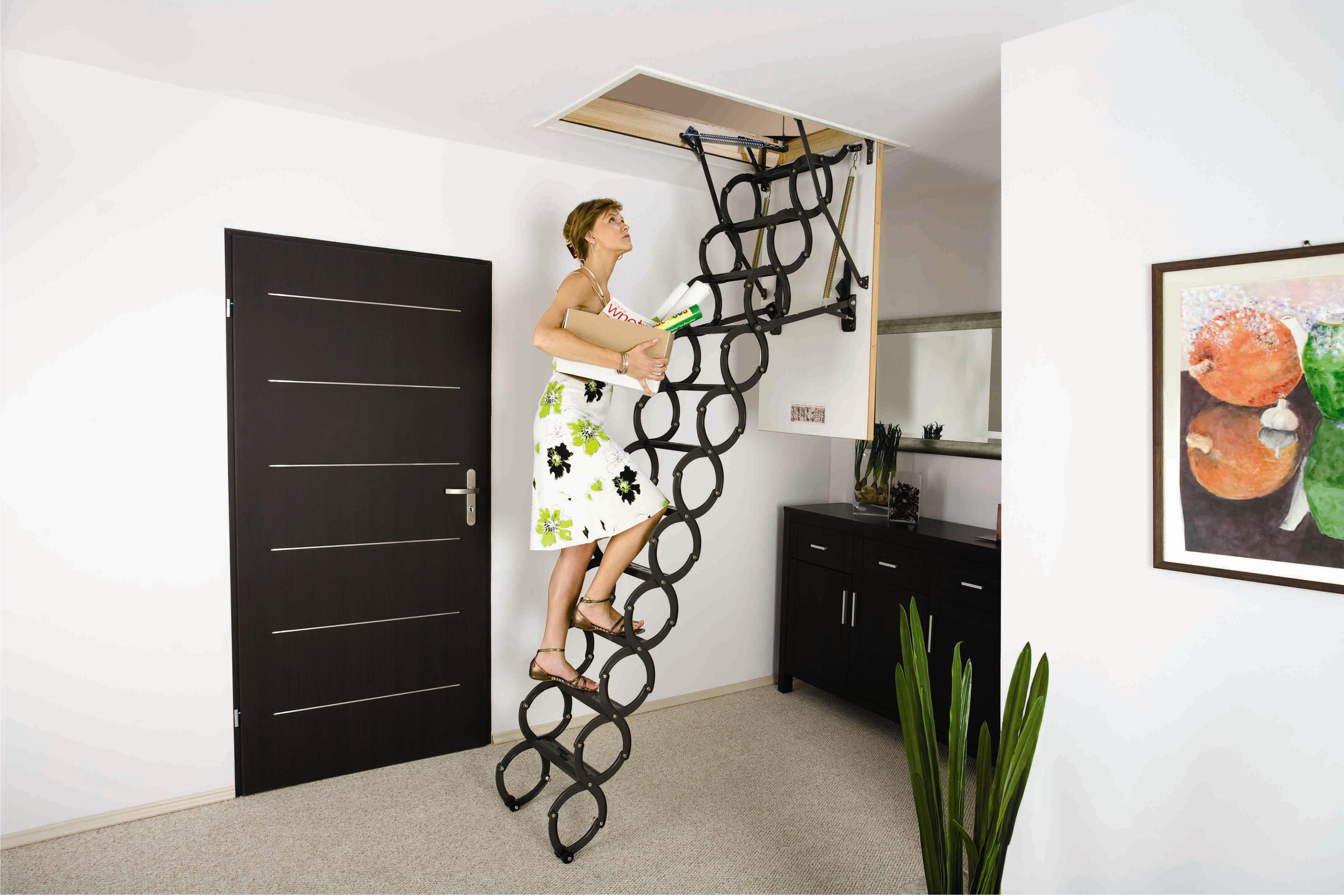 Стальная лестница на чердак