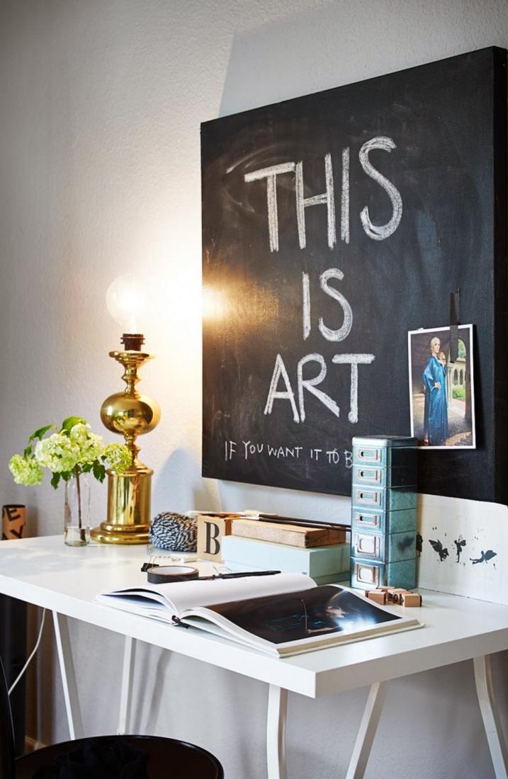 Меловая доска над столом в интерьере