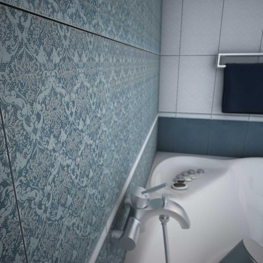 Голубая плитка с узором в ваннойГолубая плитка с узором в ванной