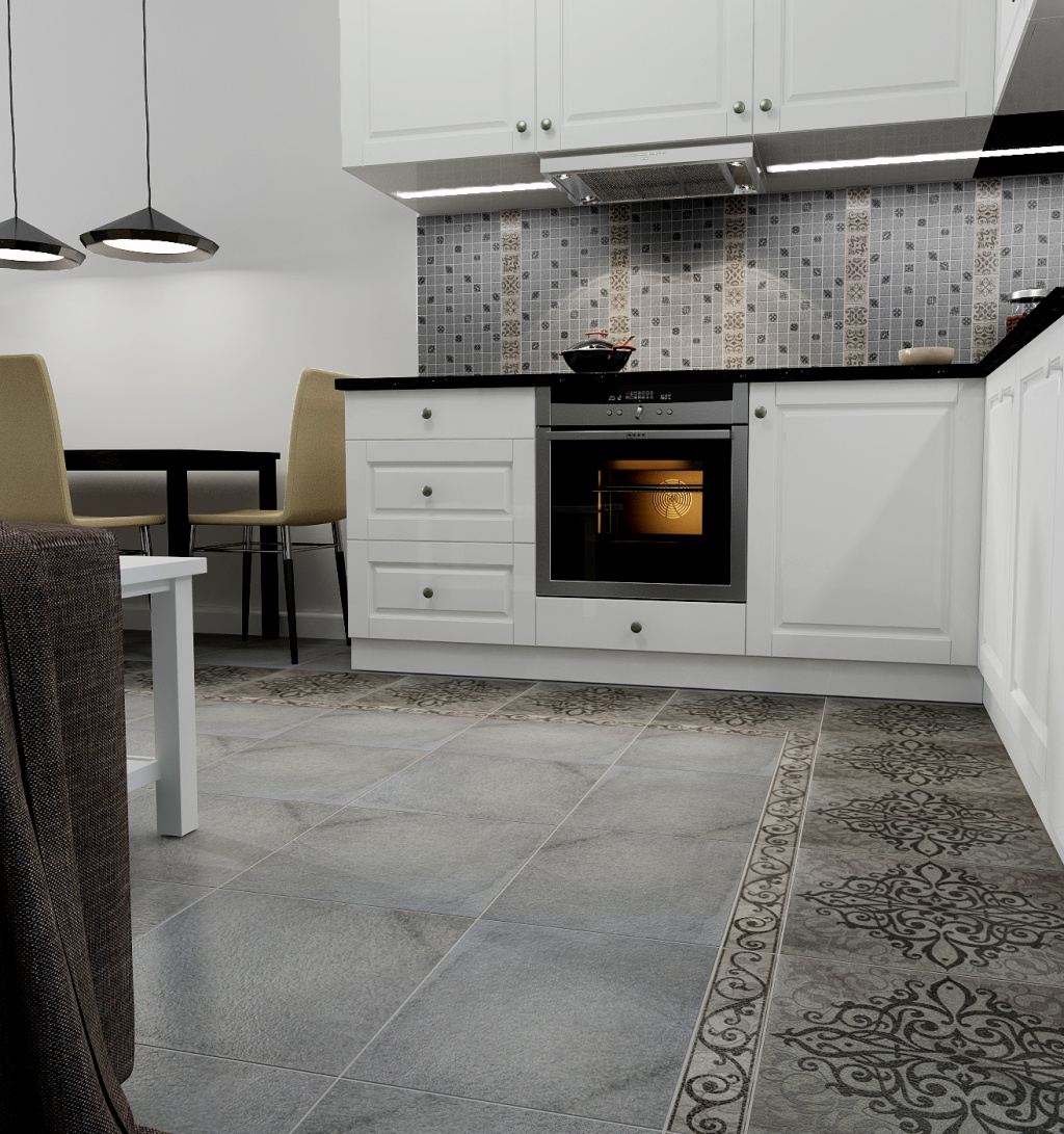 Керамогранитная плитка с узором на кухне
