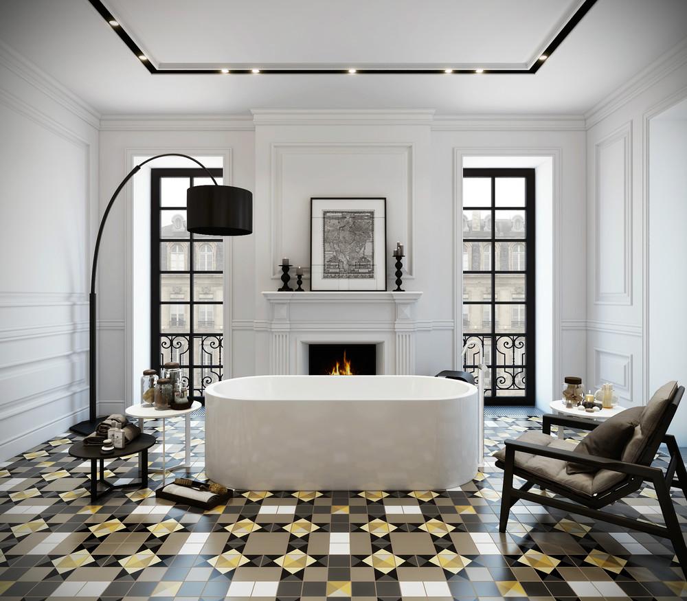 Метлахская плитка в ванной