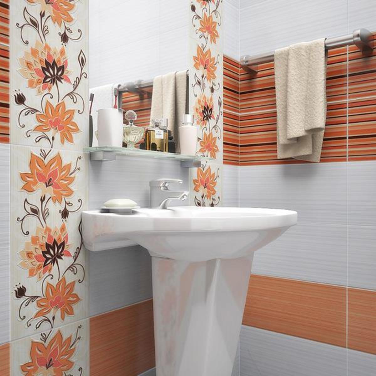 Оранжевая плитка в ванной комнате