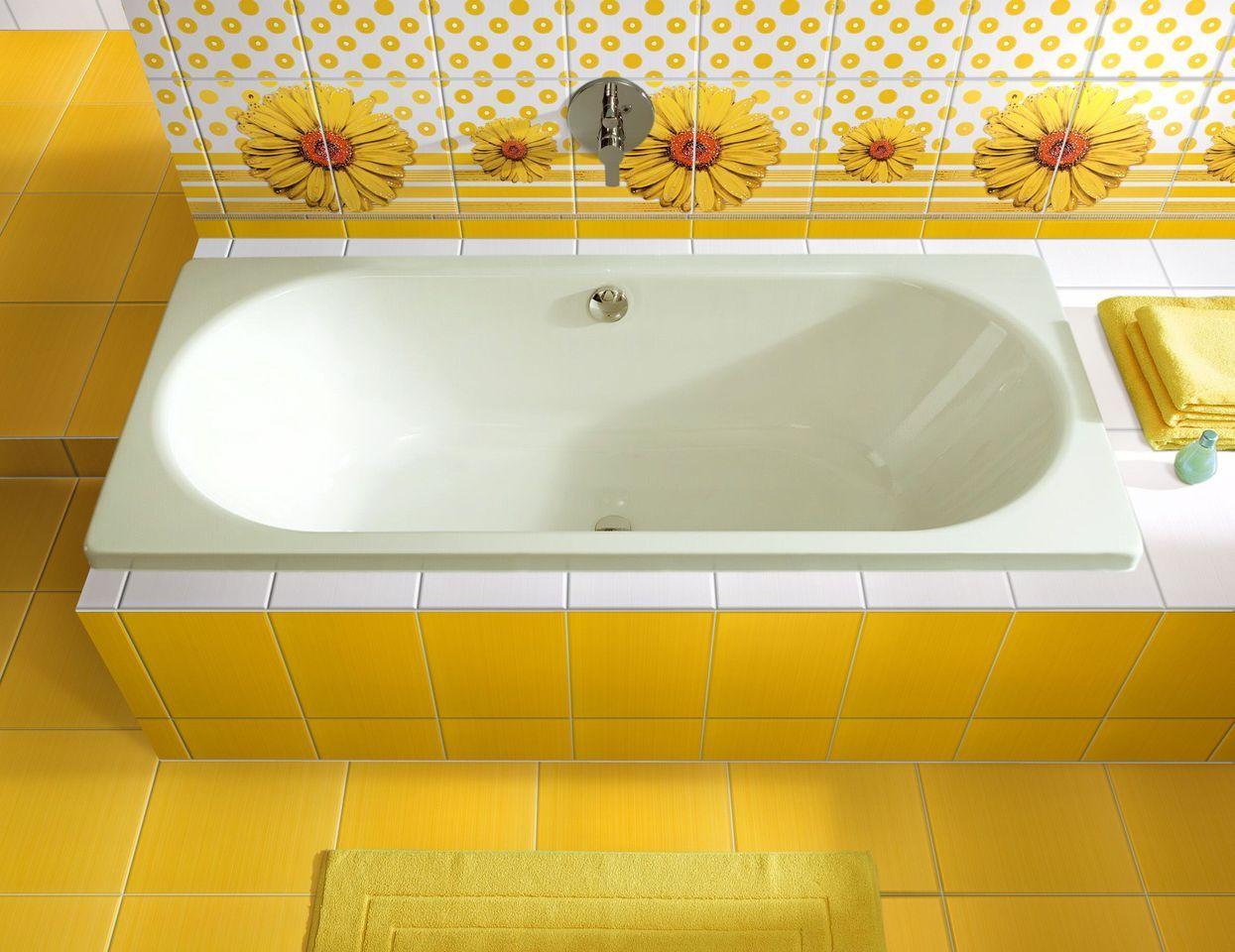 Желтая плитка в интерьере ванной
