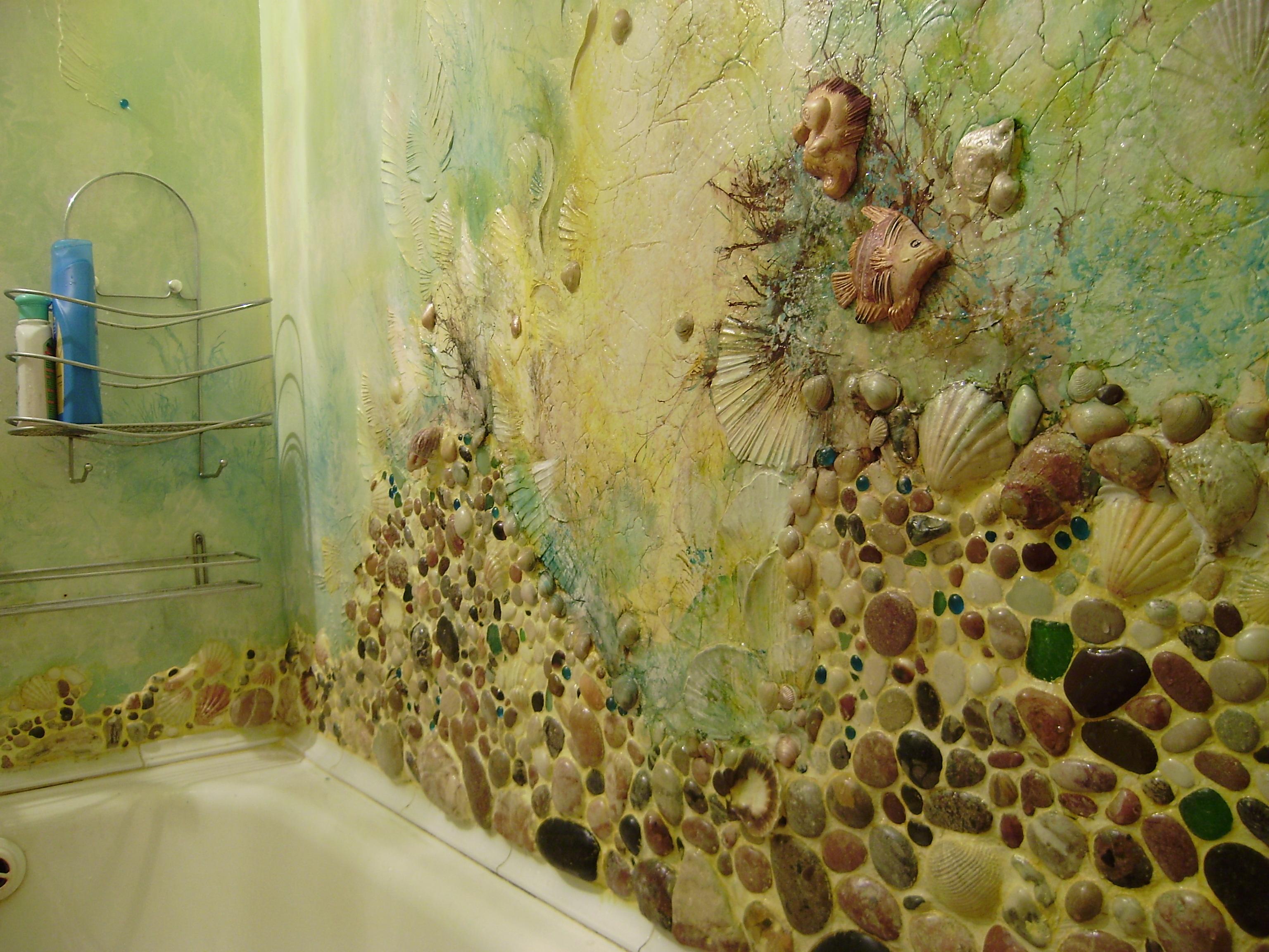 Декор из камней в ванной