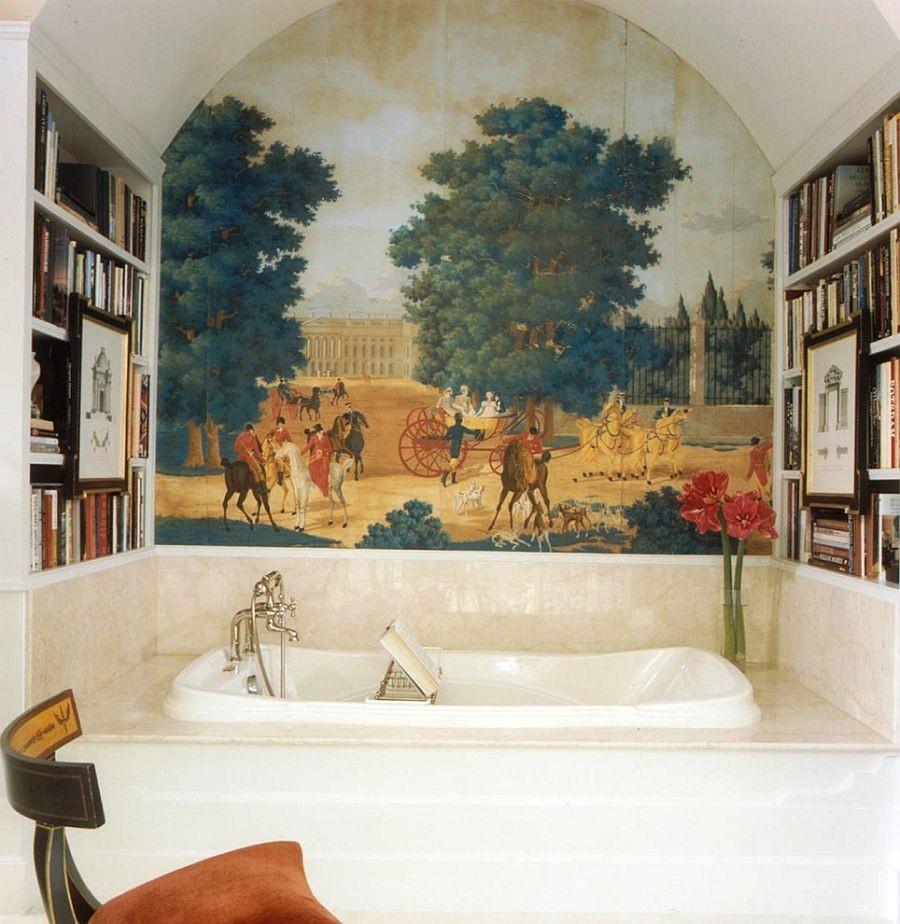 Панорамная картина на стене ванной