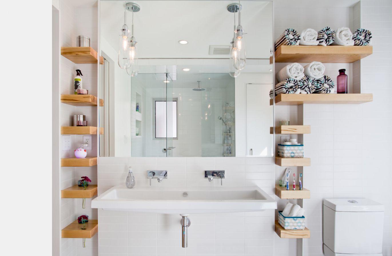 Угловые полки в ванной